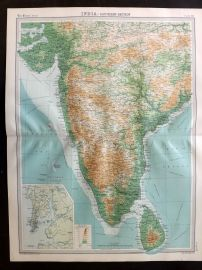 Bartholomew 1922 Large Map. India - Southern Section